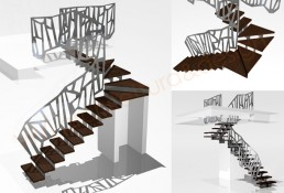 design ringhiere scale interne render